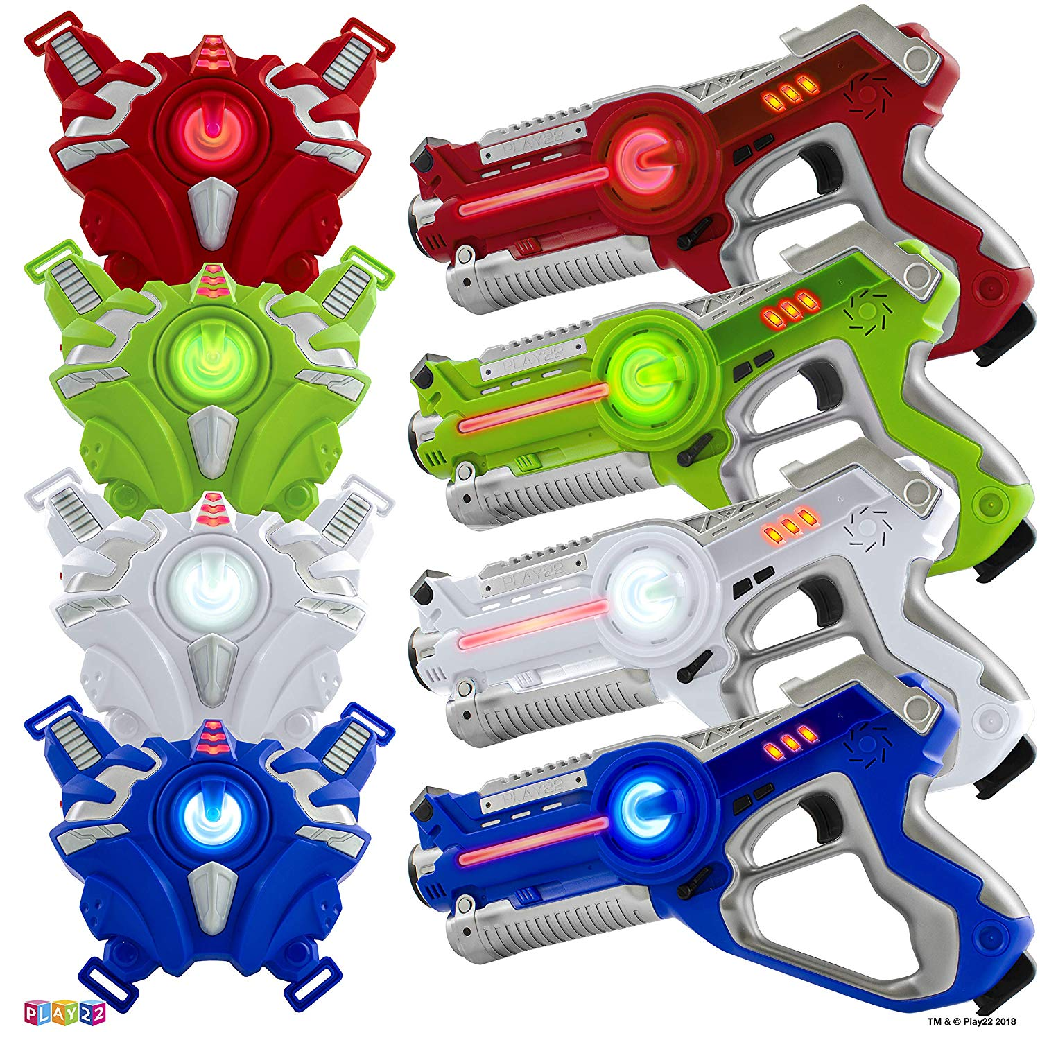 Play22 Infrared Laser Tag Set of 4 Guns and 4 Vests
